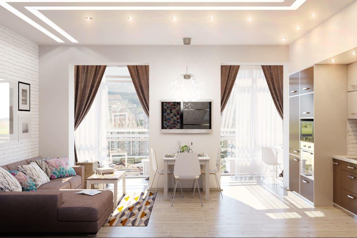 В кухне-гостиной с двумя окнами нужно соблюдать симметричность