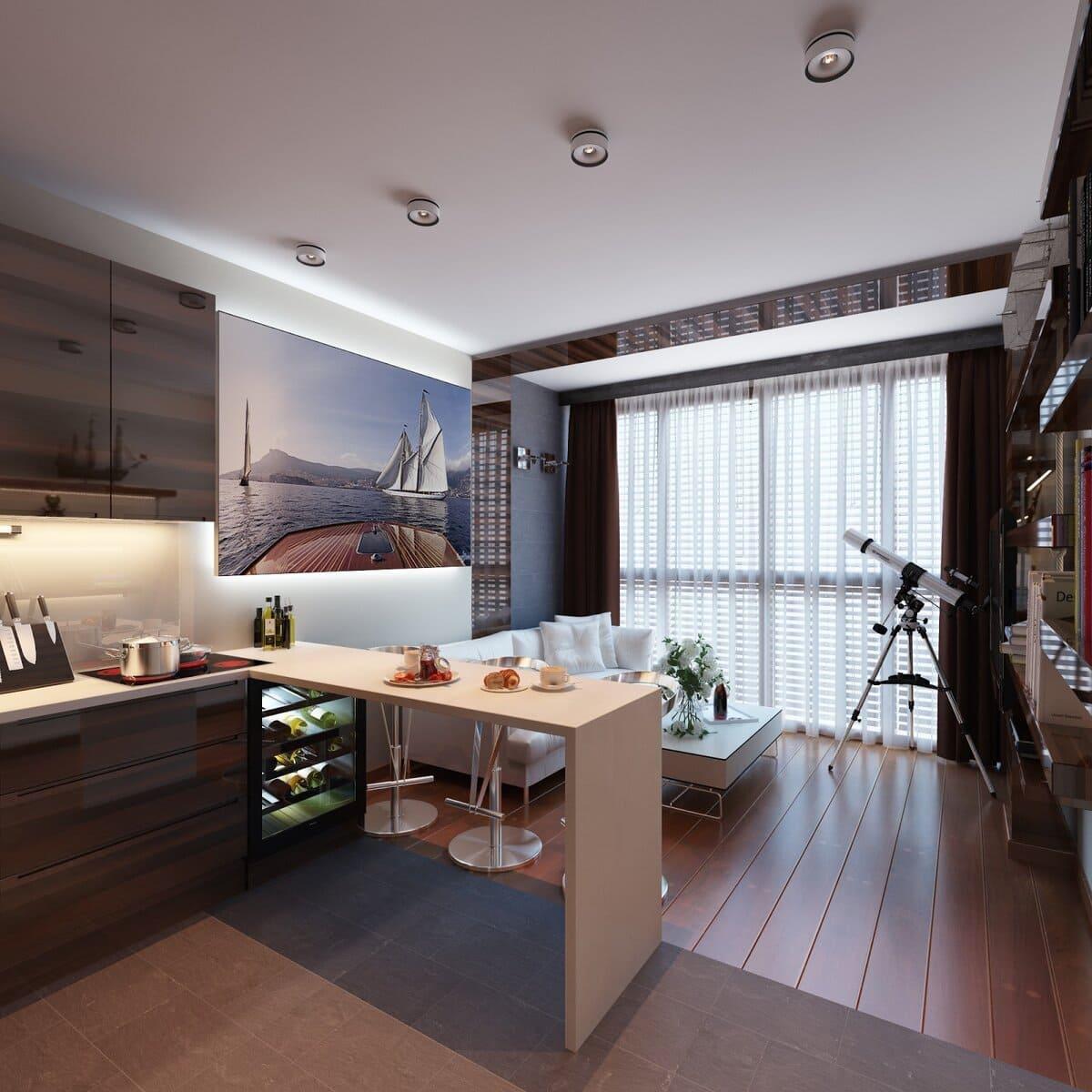 Кухня-гостиная с панорамным окном