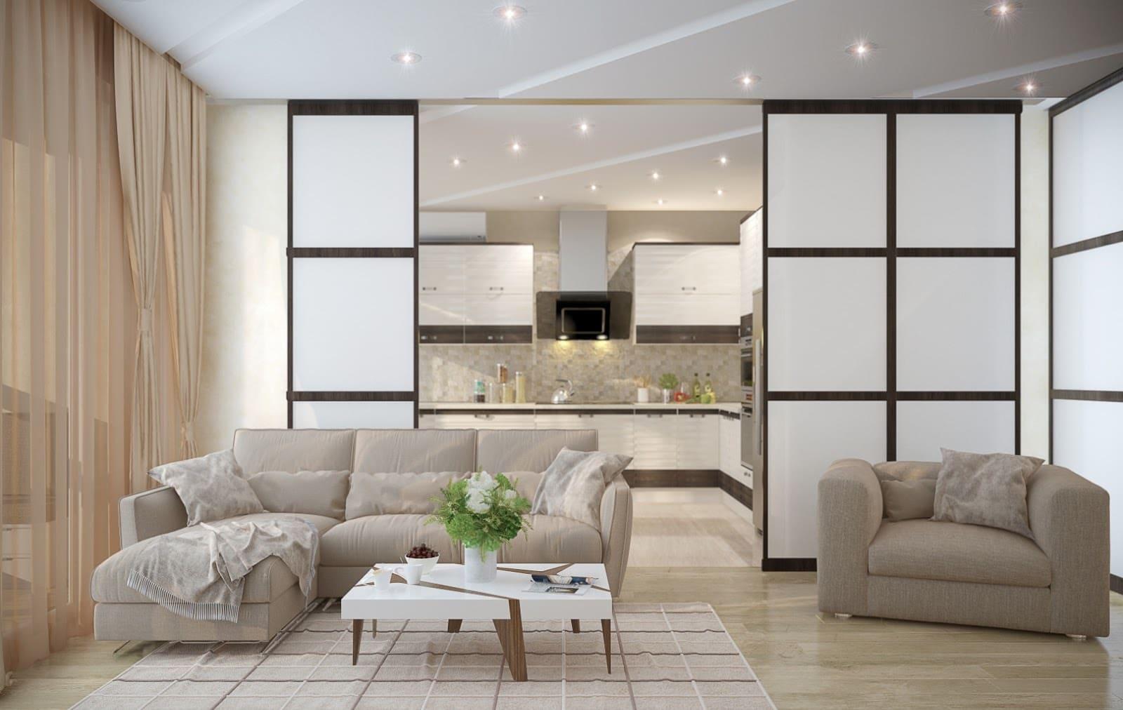 Стеклянные двери для зонирования кухни-гостиной