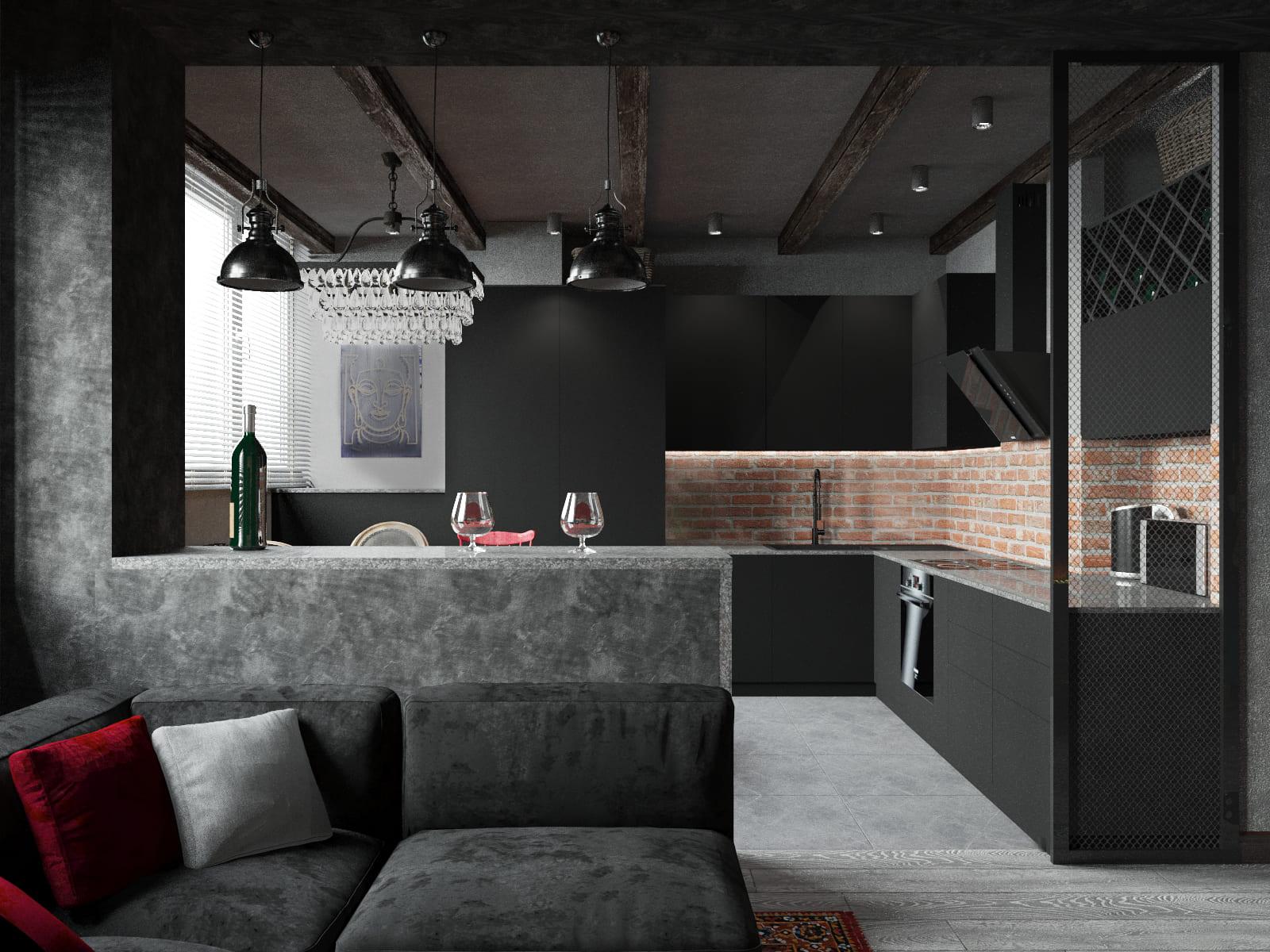 Темная кухня-гостиная