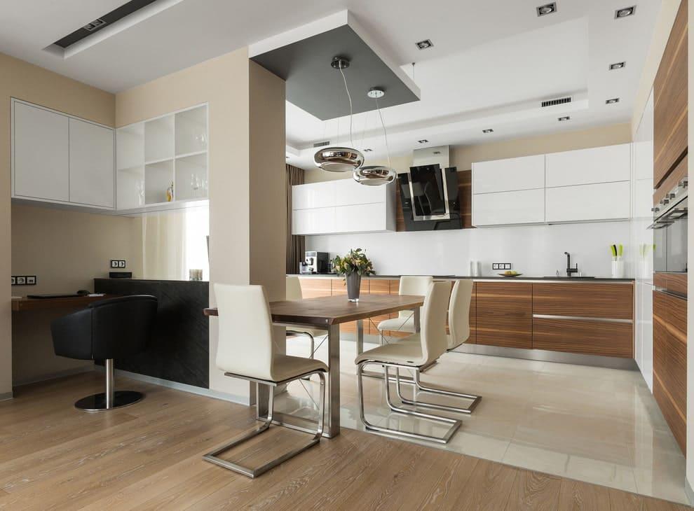 Разные текстуры пола кухни-гостиной