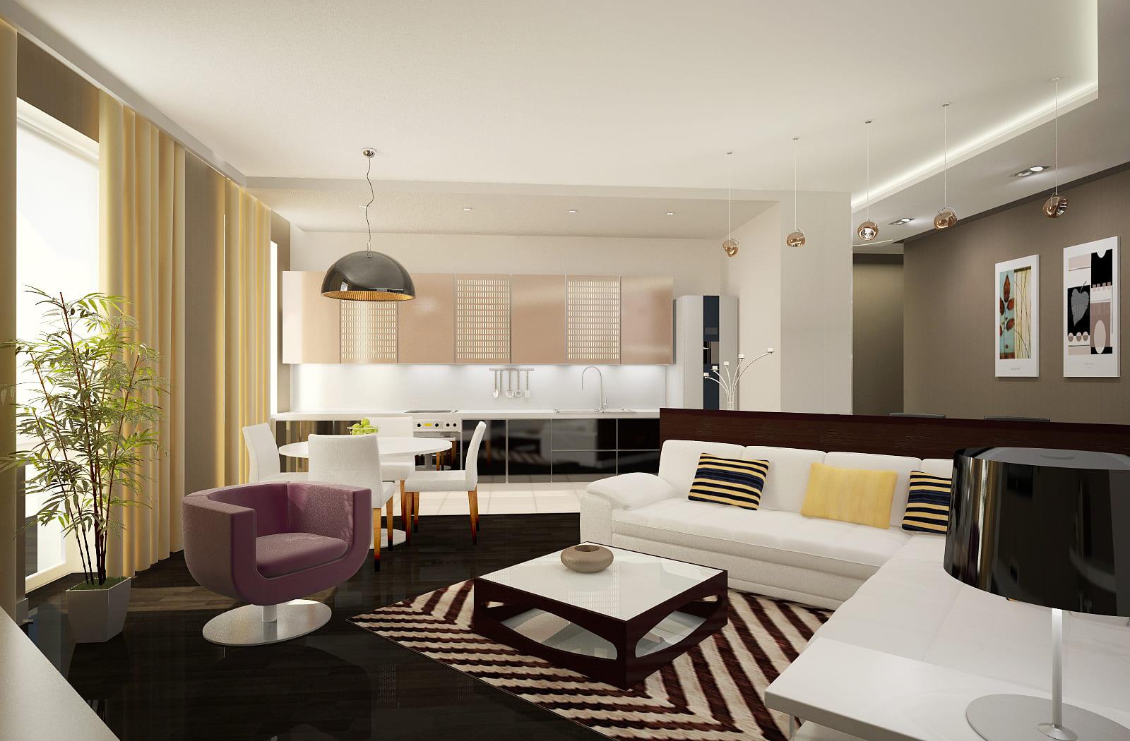 Стены в кухне-гостиной можно делать разными
