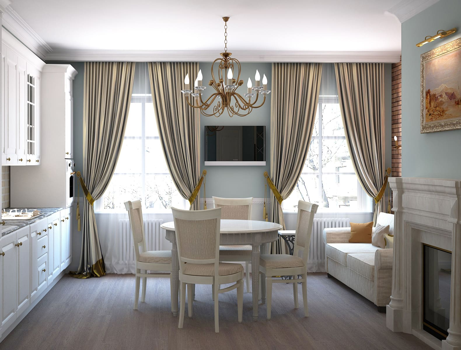 Плотные шторы в кухне-гостиной