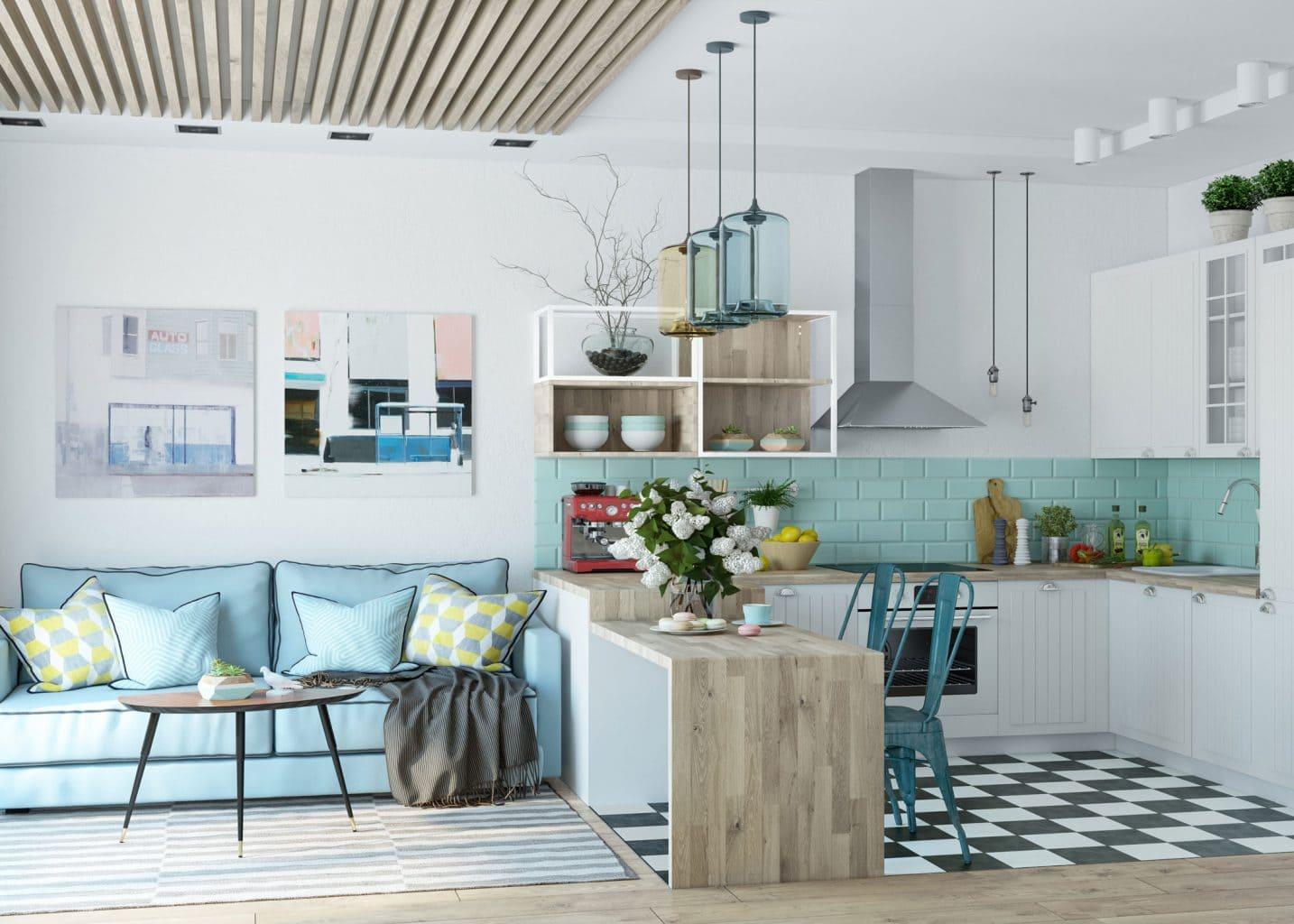 Скандинавский стиль кухни-гостиной