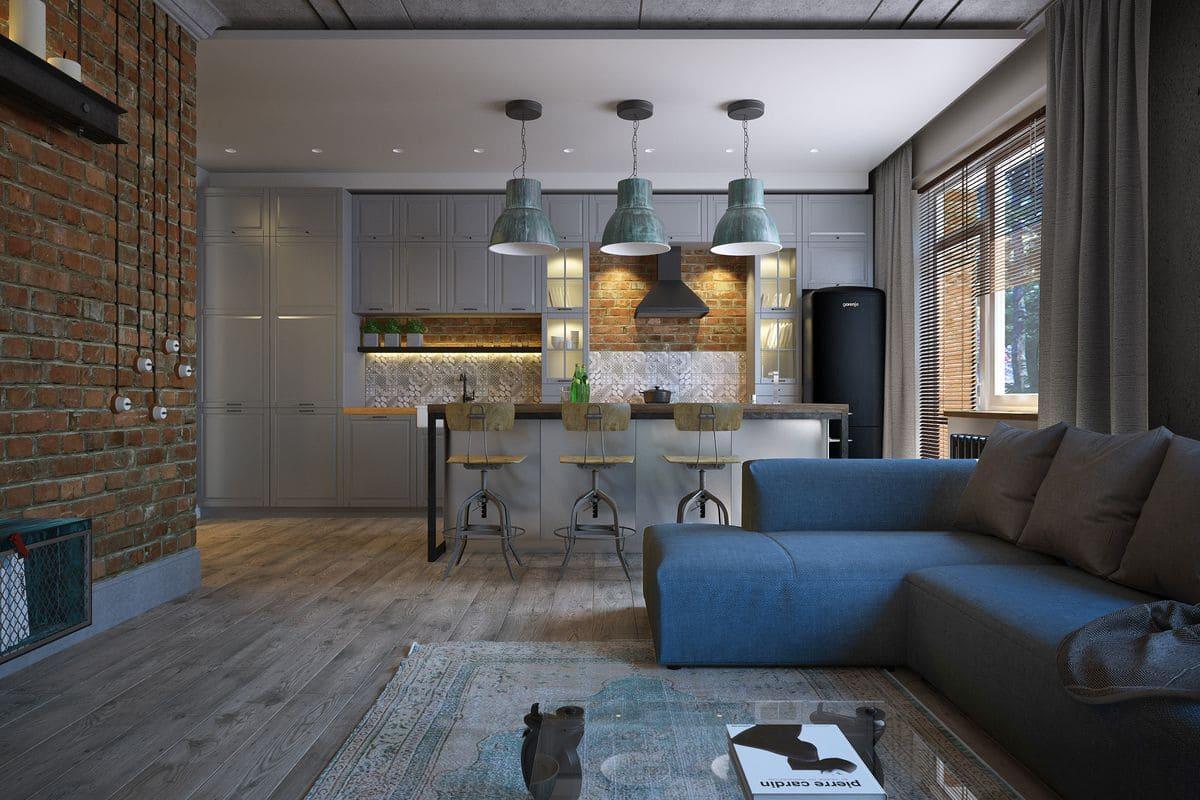 Стиль лофт кухни-гостиной