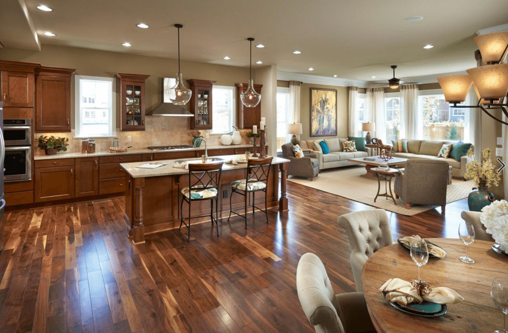 Большая кухня-гостиная идея дизайна