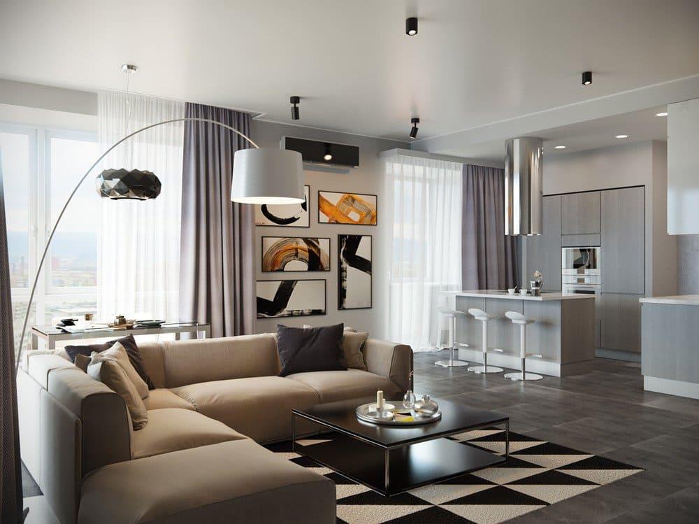 Светлая отделка кухни-гостиной