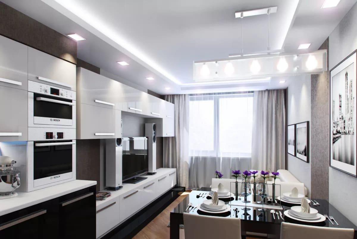 Вытянутая кухня-гостиная