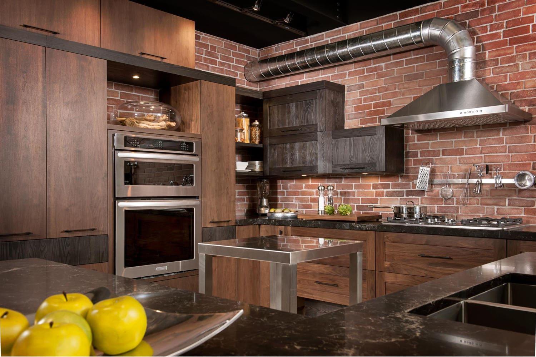 Единый стиль отделки кухни лофт