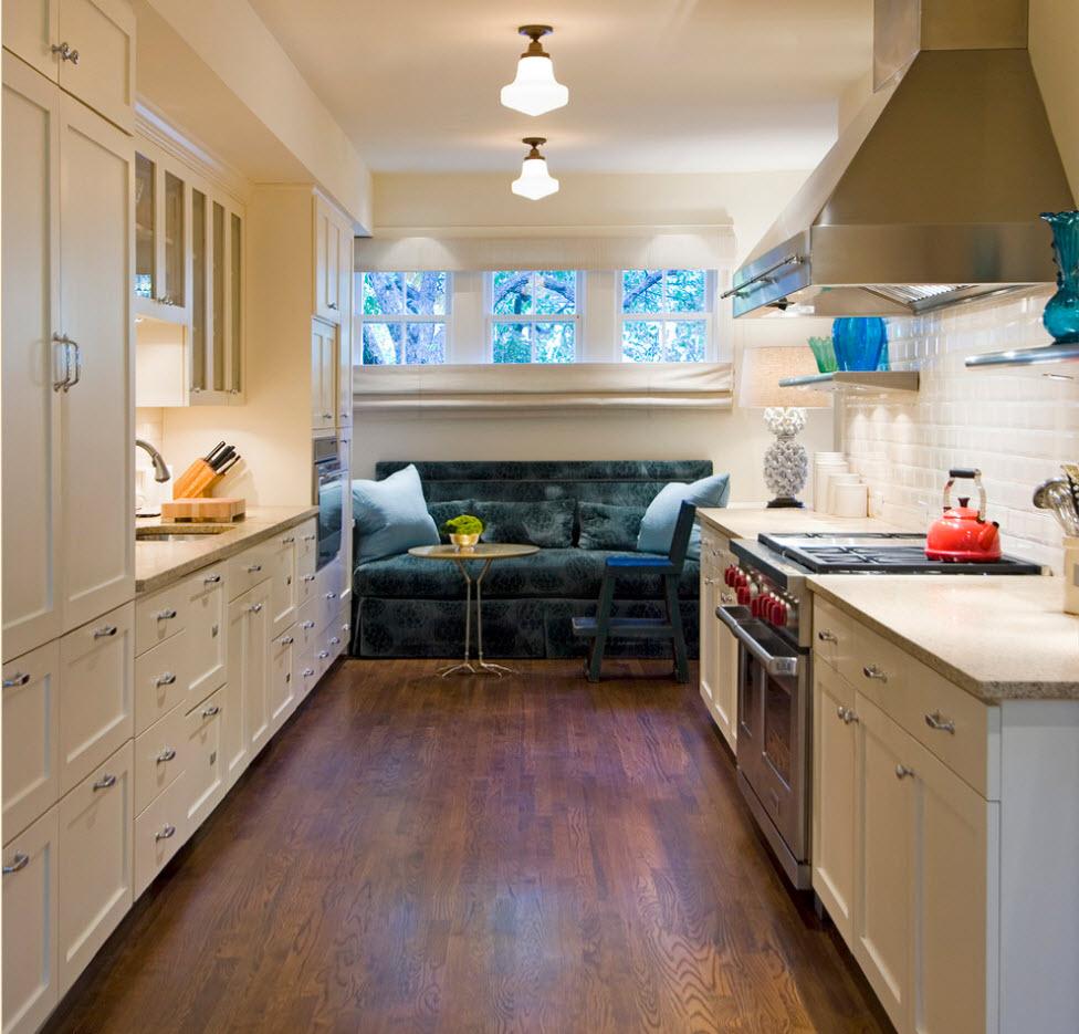 Освещение узкой длинной кухни