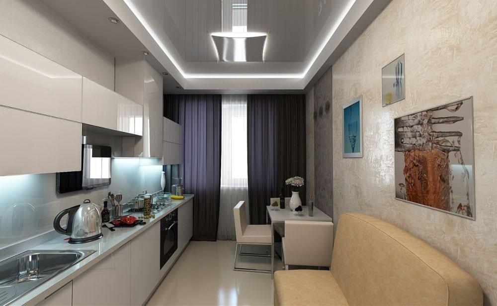 Маленькая и длинная кухня-гостиная