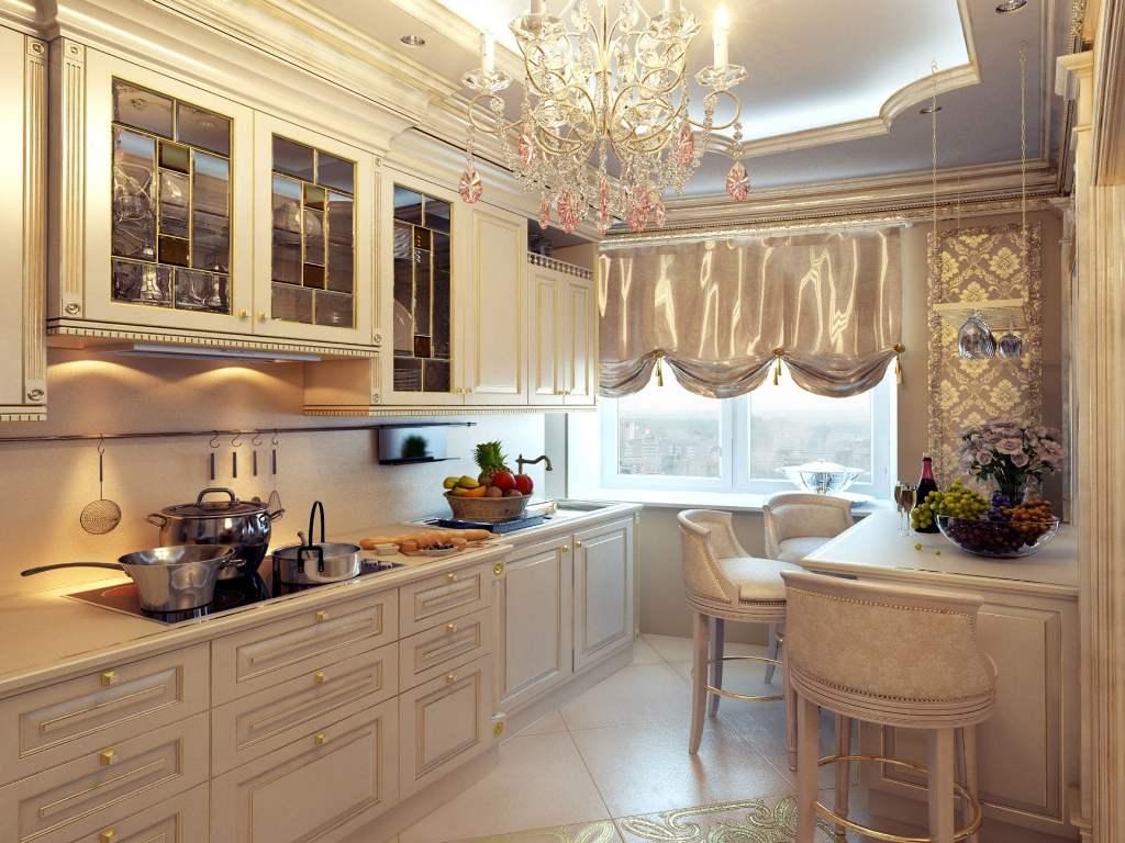 Занавески для кухни в классическом стиле