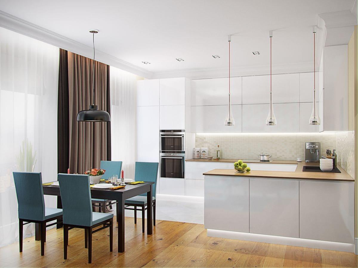 Гардины для кухни в стиле минимализм