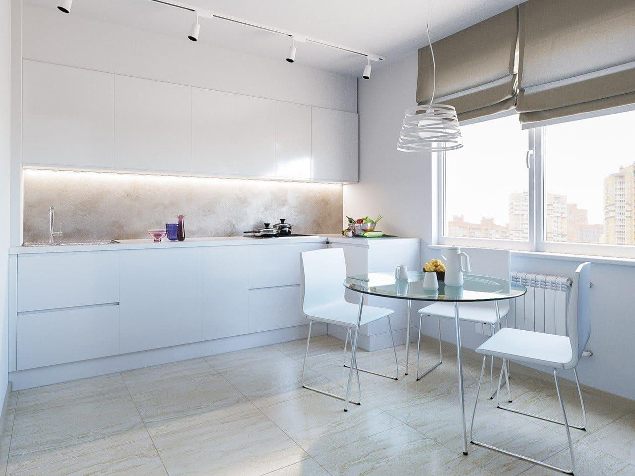 стиль минимализм и шторы для кухни