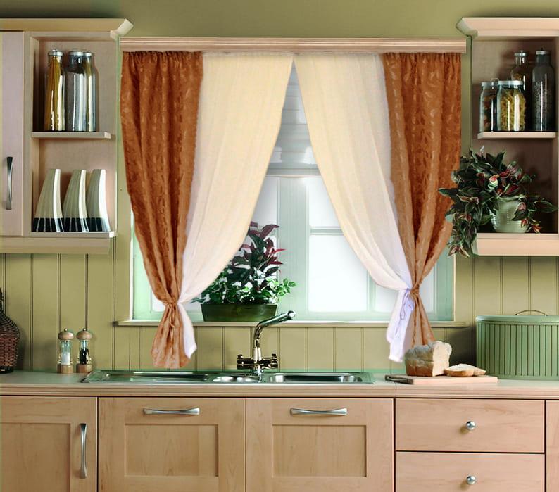 Шторы для кухни в два цвета
