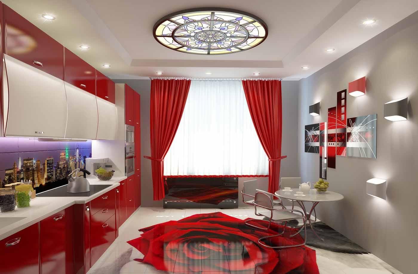 красные гардины в цвет фасадов