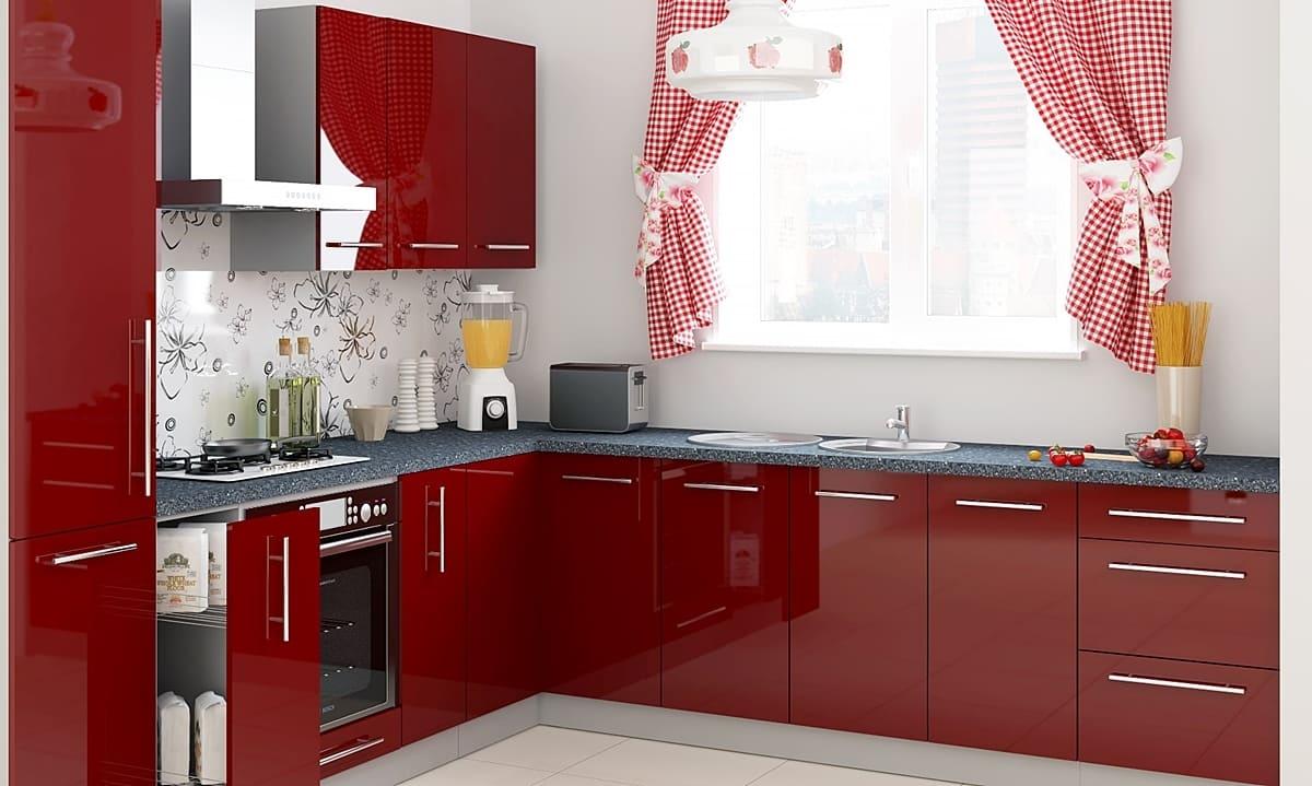 красные шторы для кухни