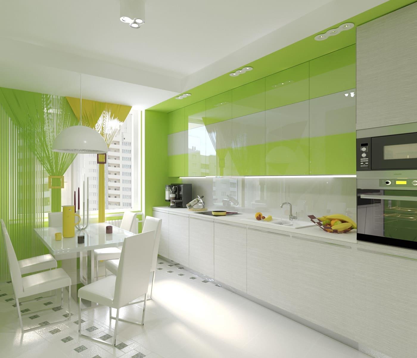 шторы для салатовой кухни