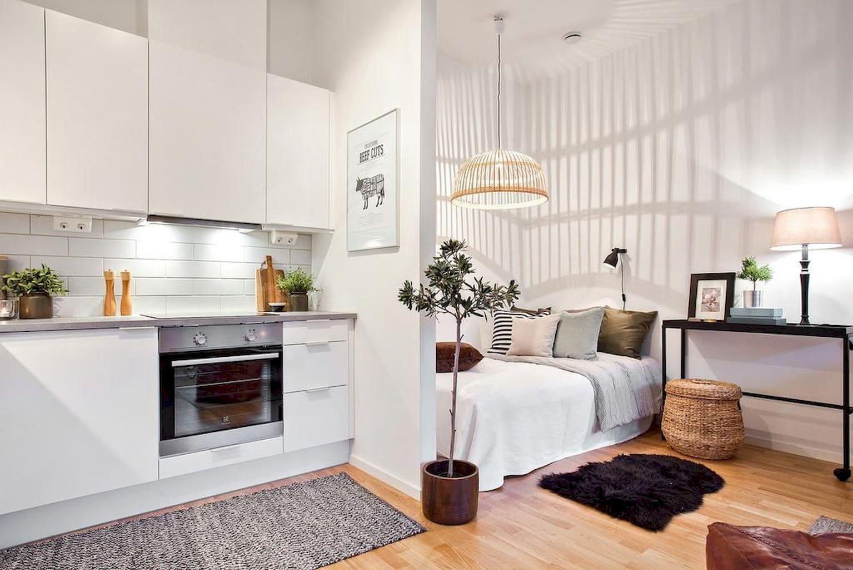 светлая кухня-спальня с перегородкой