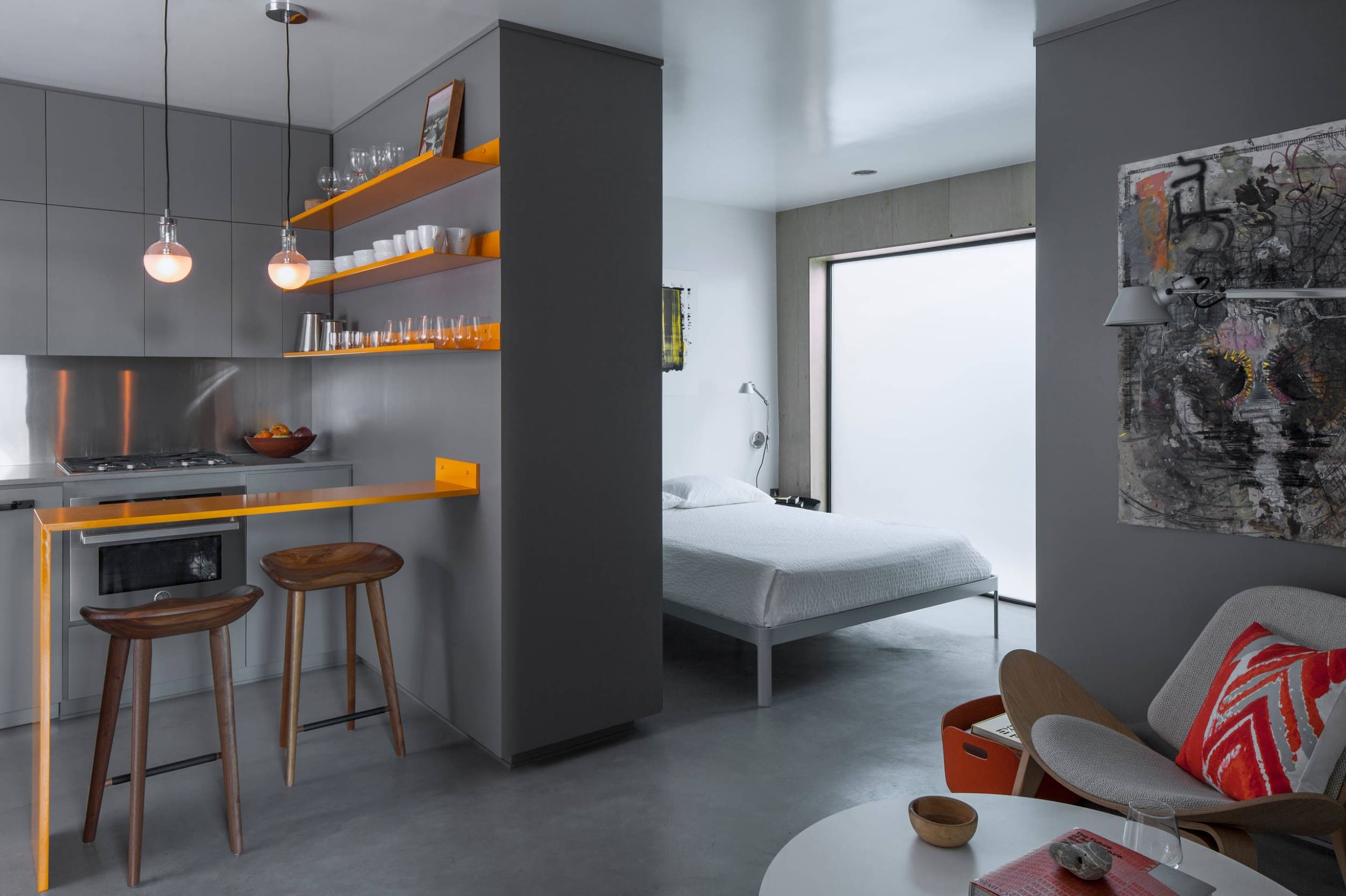 зонирование кухни-спальни
