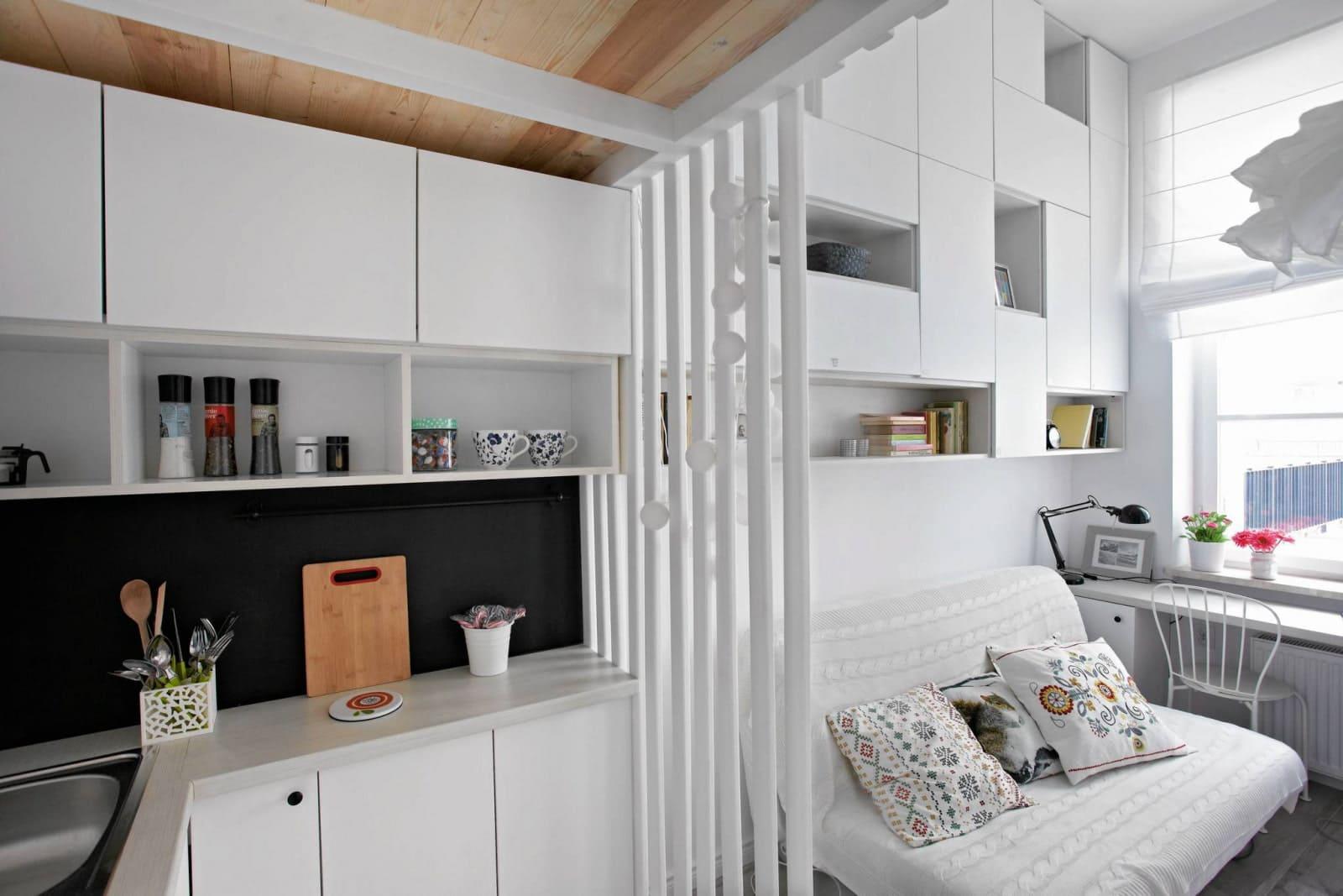 полупрозрачная перегородка в кухне-спальне