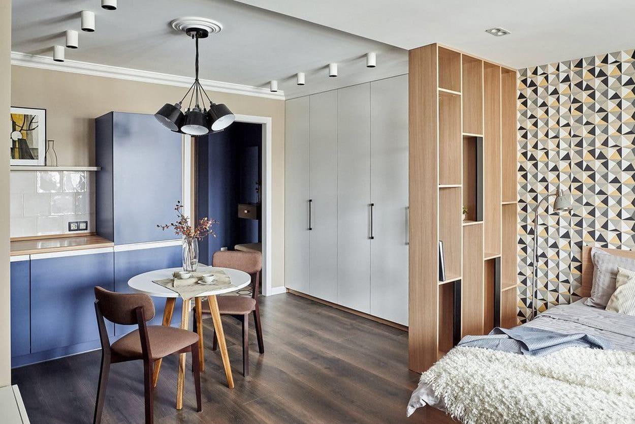 перегородка в кухне спальне как элемент мебелирования