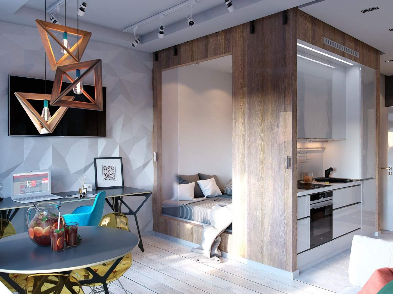 раздвижная дверь в небольшая кухне-гостиной