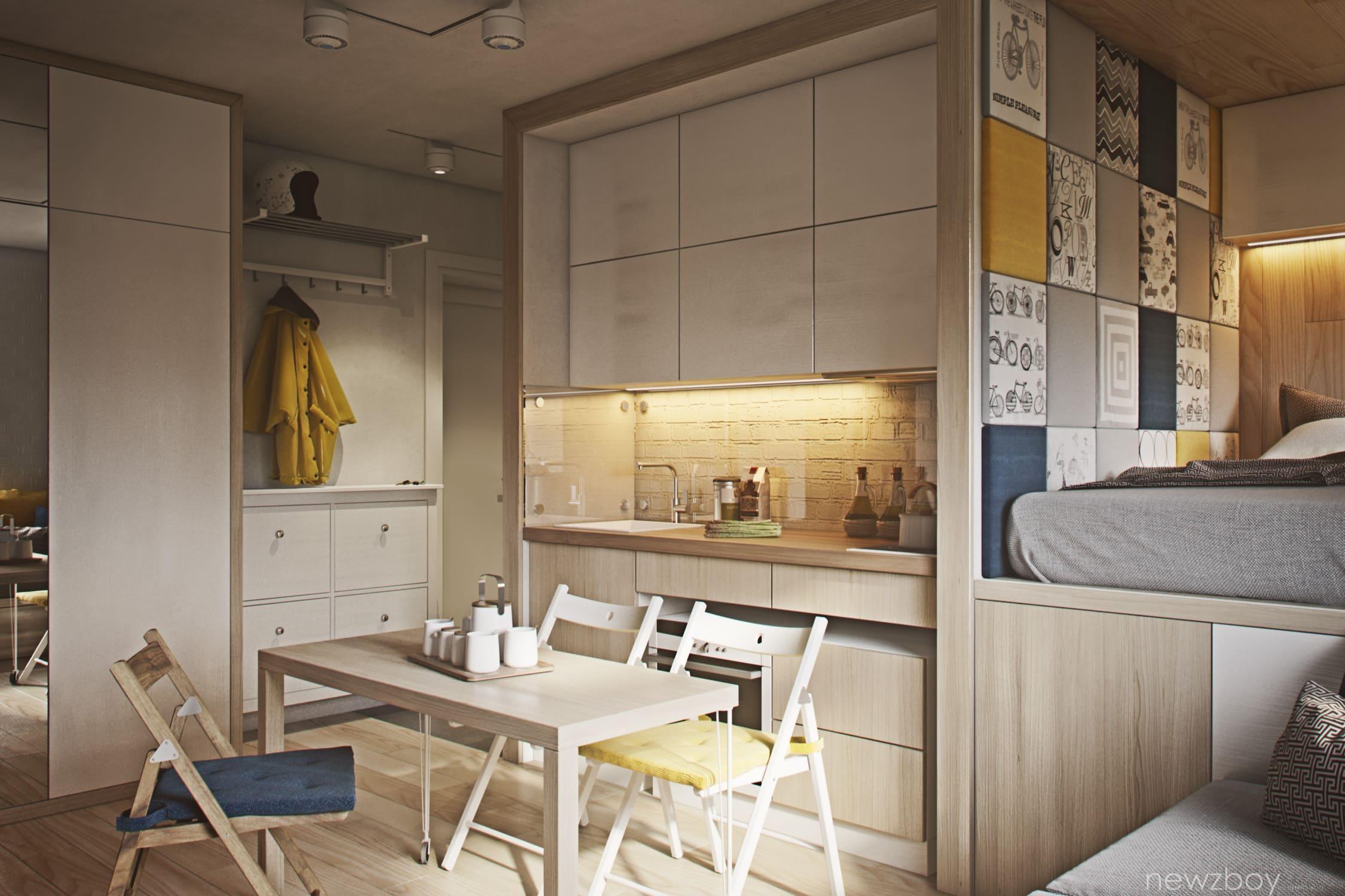 небольшая кровать в кухне-спальне