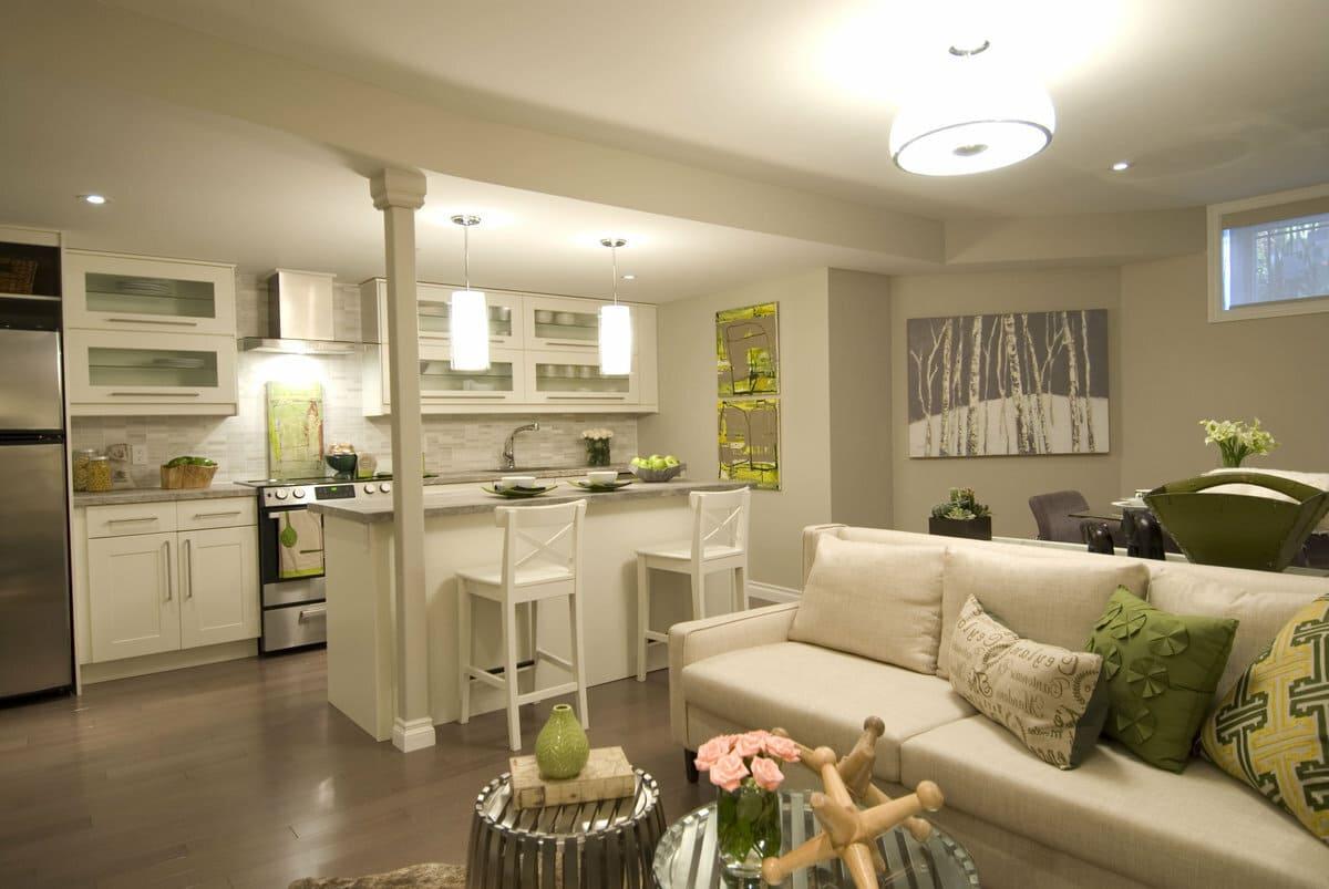 зонирование кухни-спальни мебелью