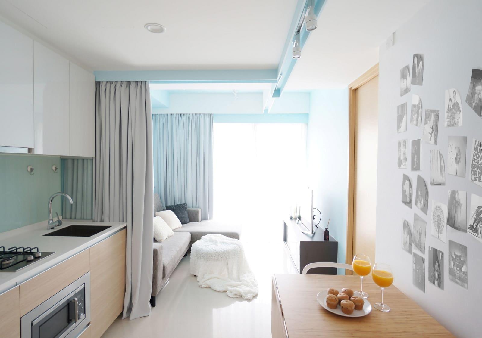 штора для зонирования кухни-спальни