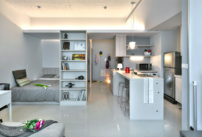 кухня-спальня разделенная шкафом