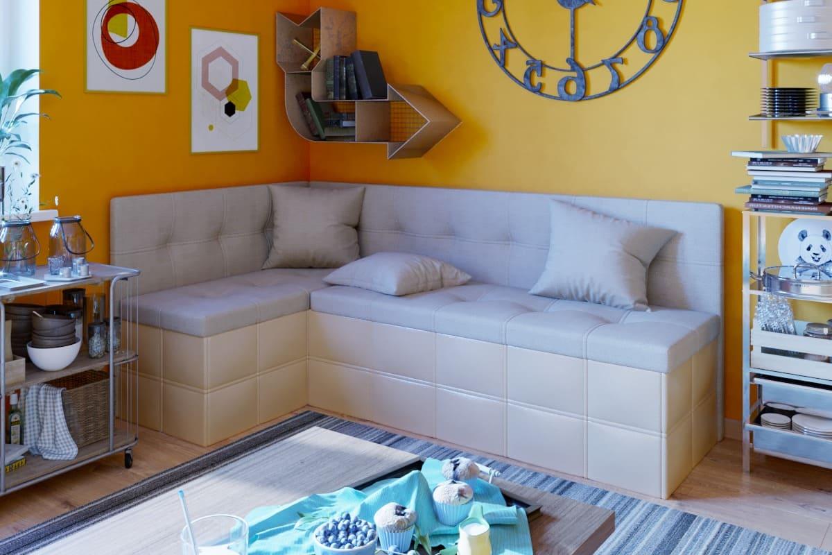 текстильный диванчик в кухне-спальне