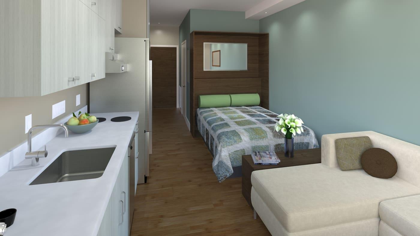 кровать в кухне-спальне