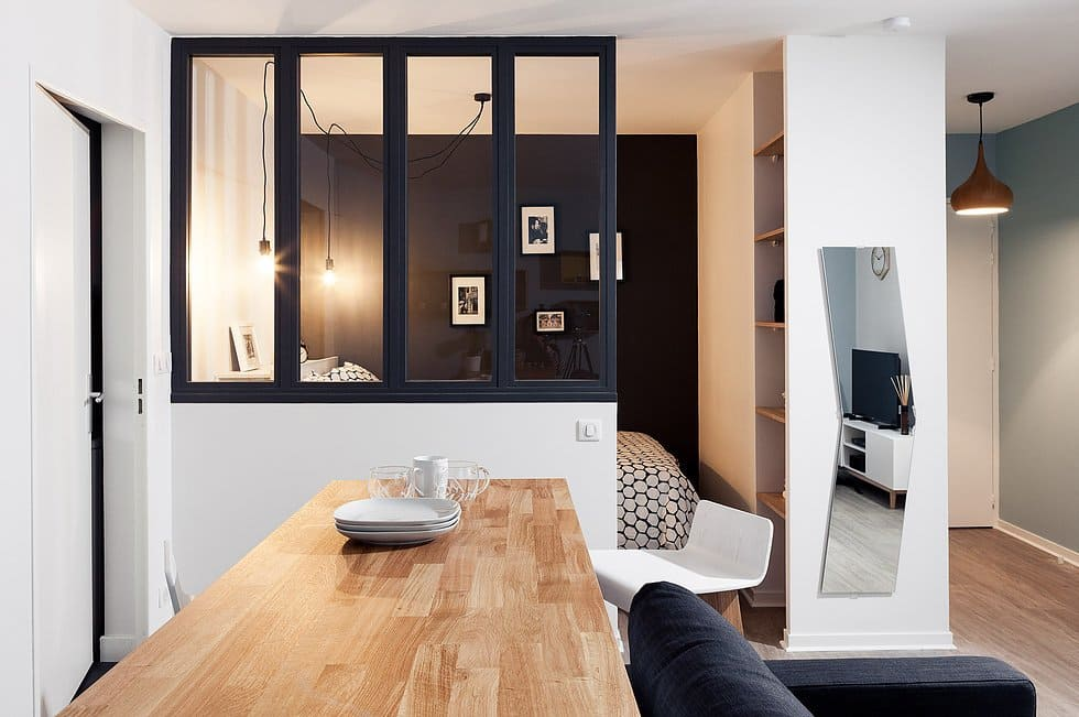 разделение кухни-спальни на зоны