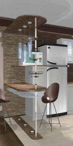 кухня-студия с камином в доме