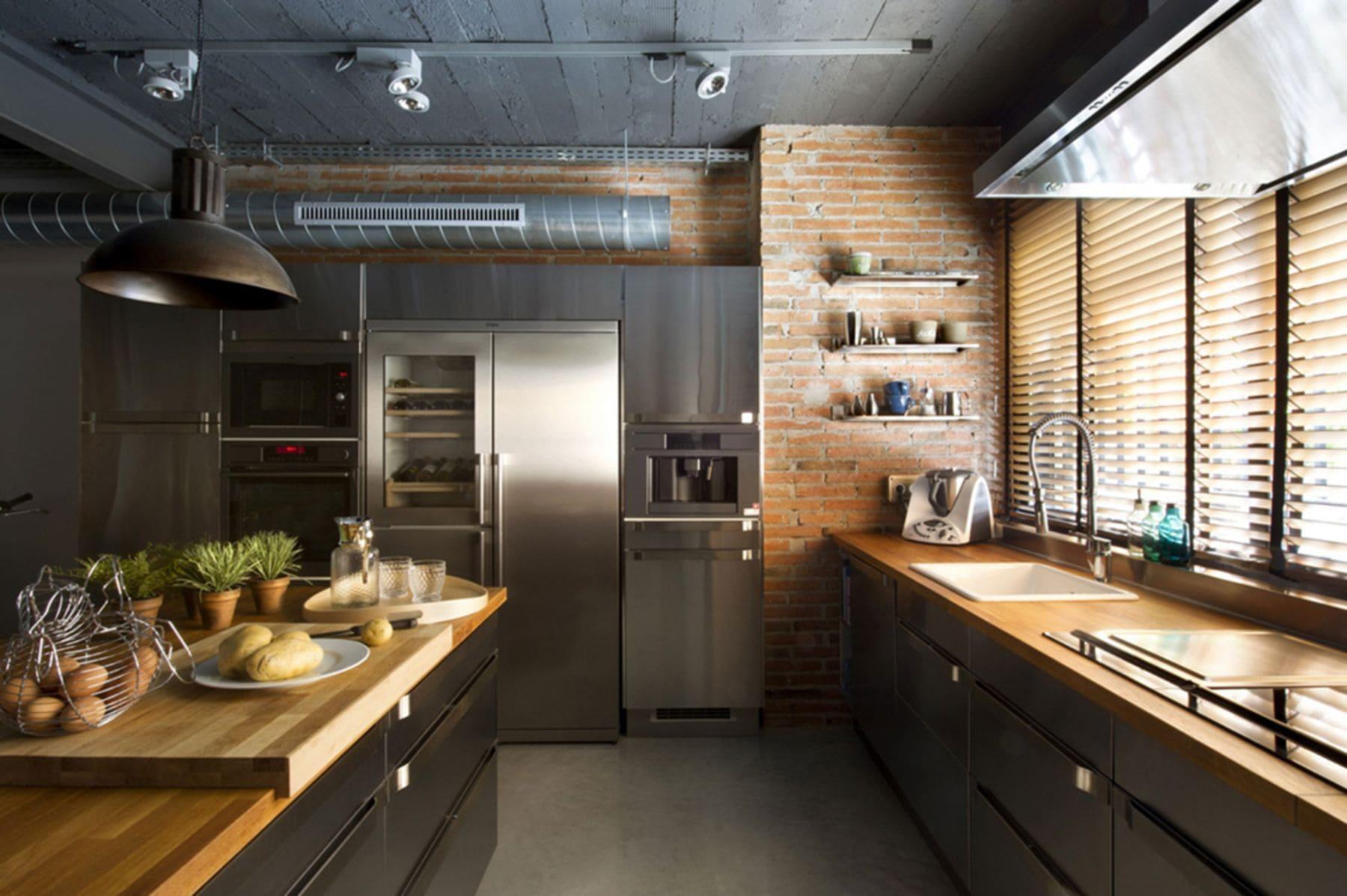 полы из бетона на кухне лофт