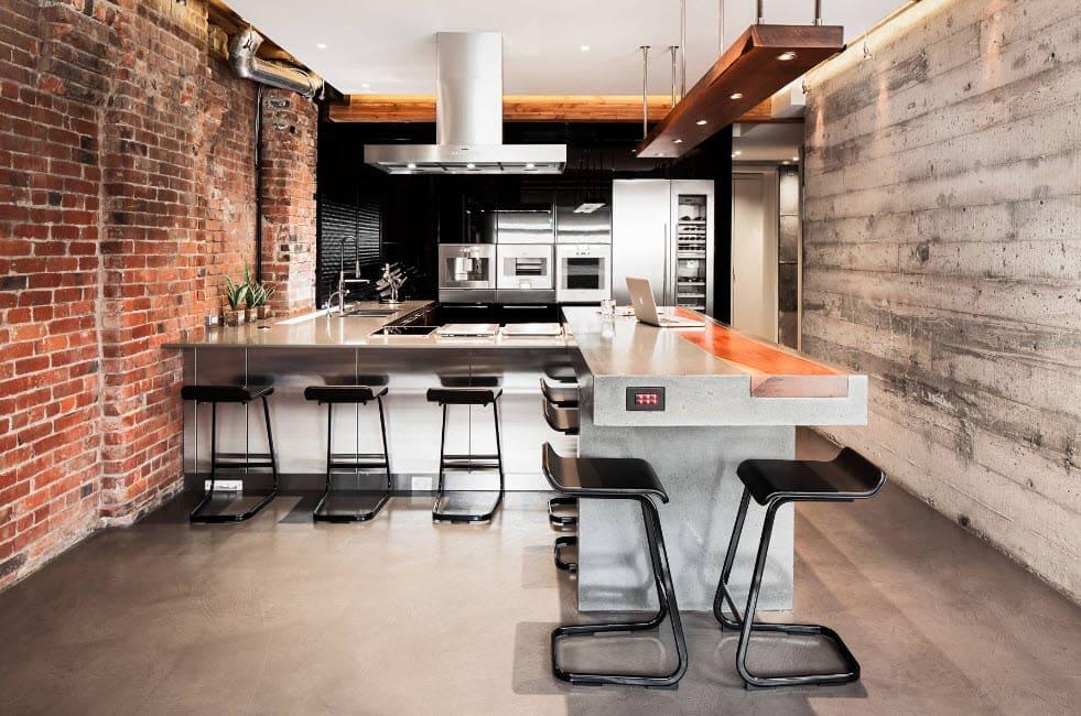 пол из бетона в кухне-гостиной