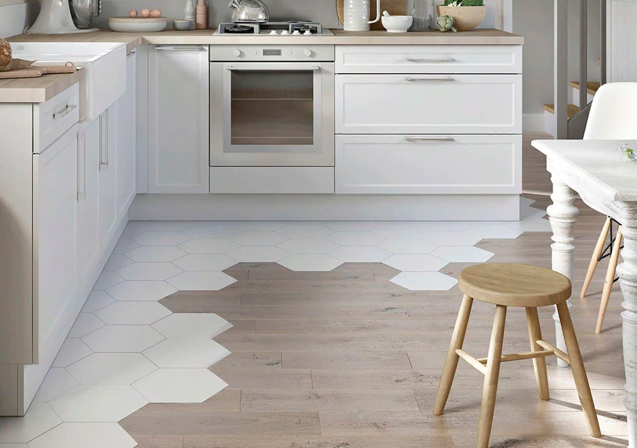 ламинат и плитка на кухонном полу
