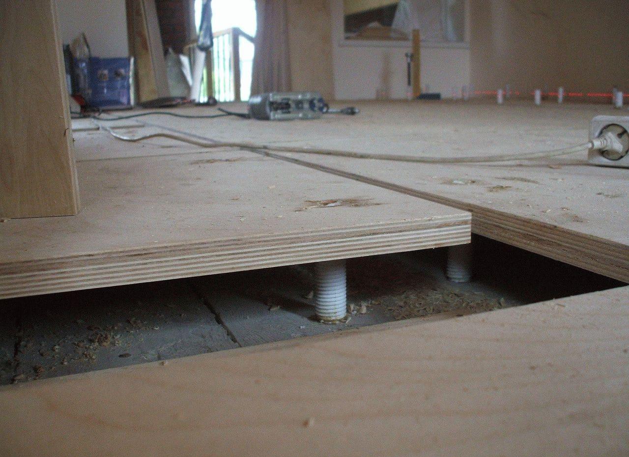 деревянная стяжка пола на кухне