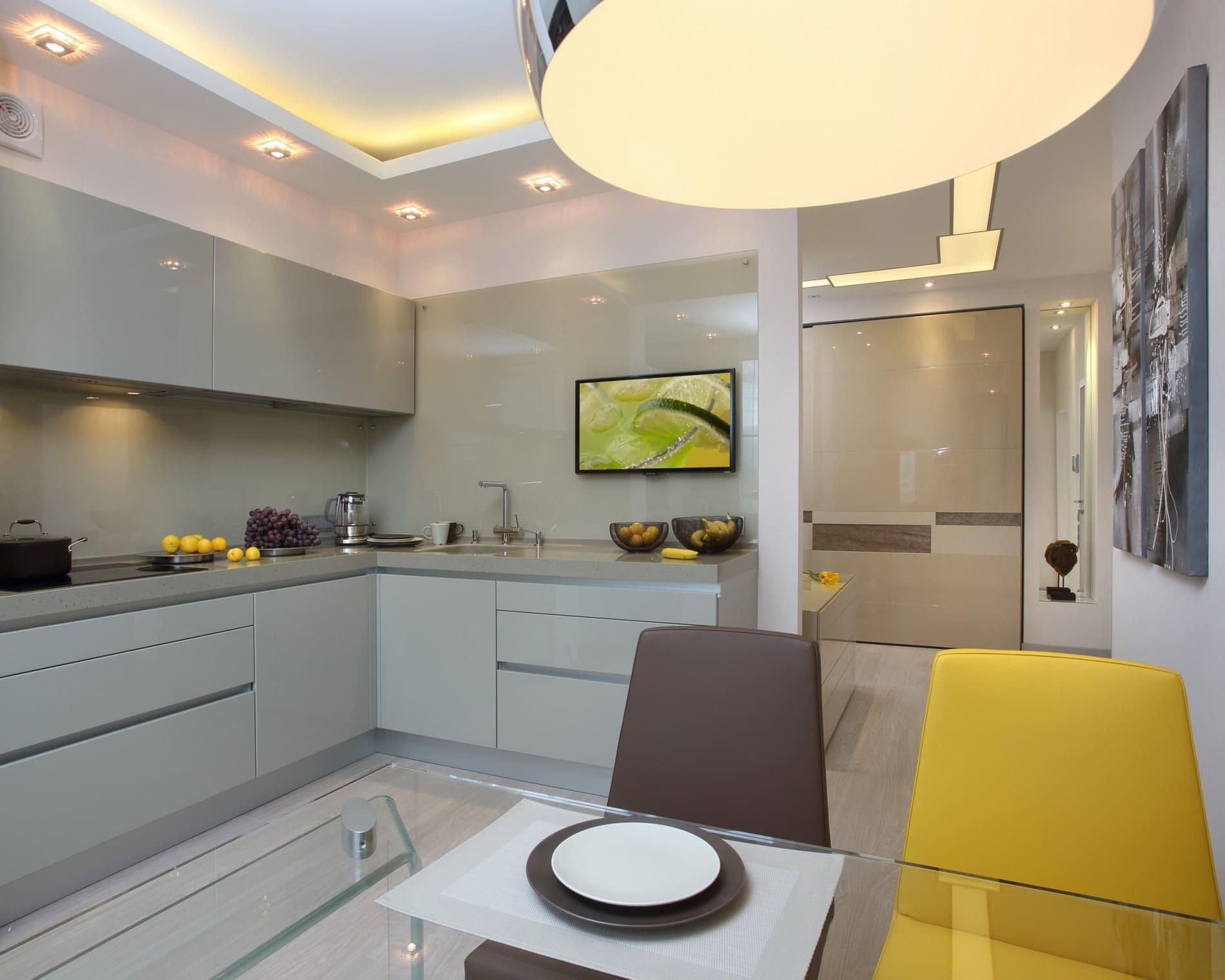 минималистичная кухня 12 метров