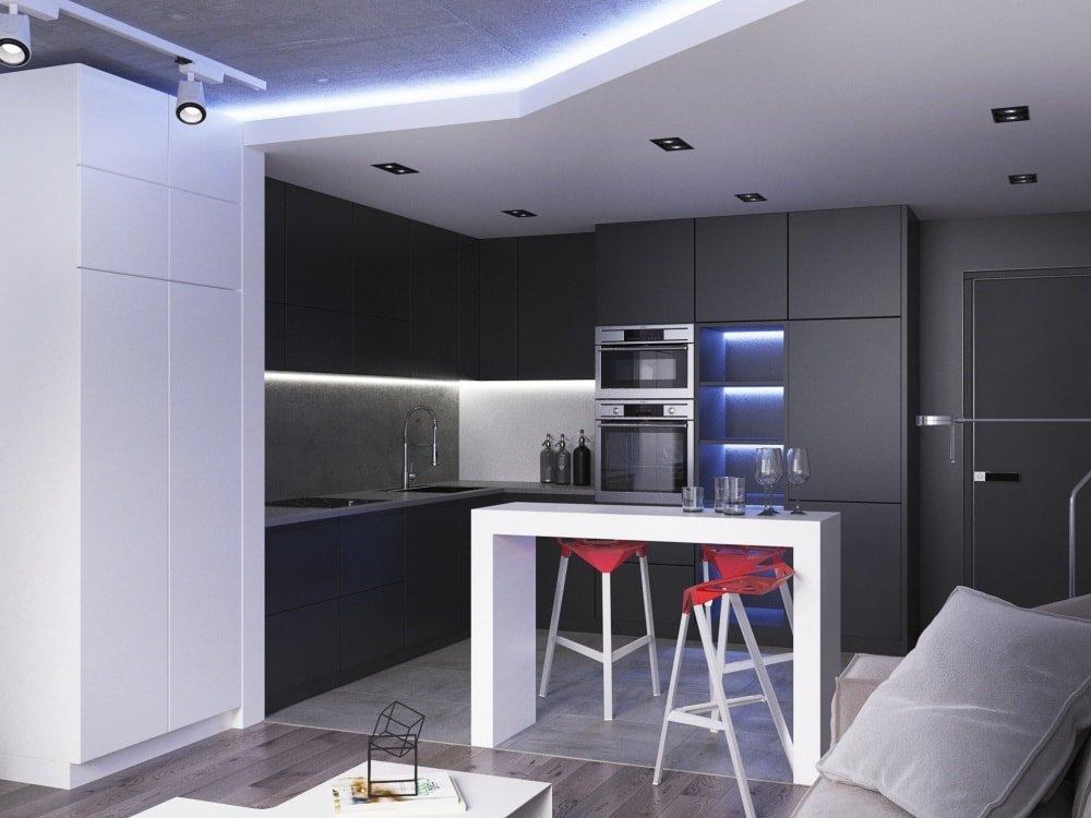 кухня 12 метров в стиле hi-tech