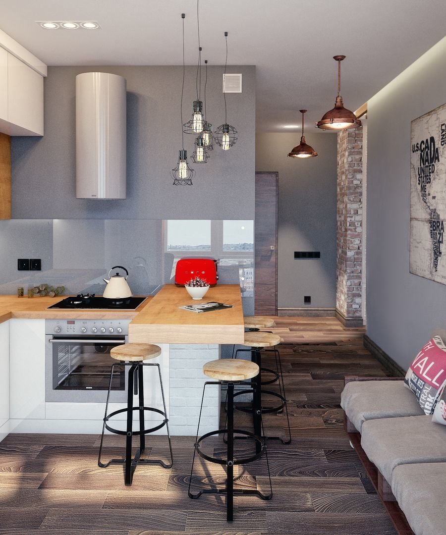 кухня 12 метров в стиле лофт