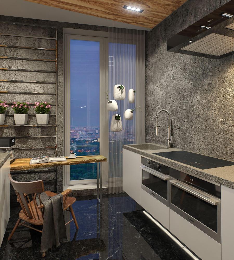 стиль лофт на кухне площадью 12 метров