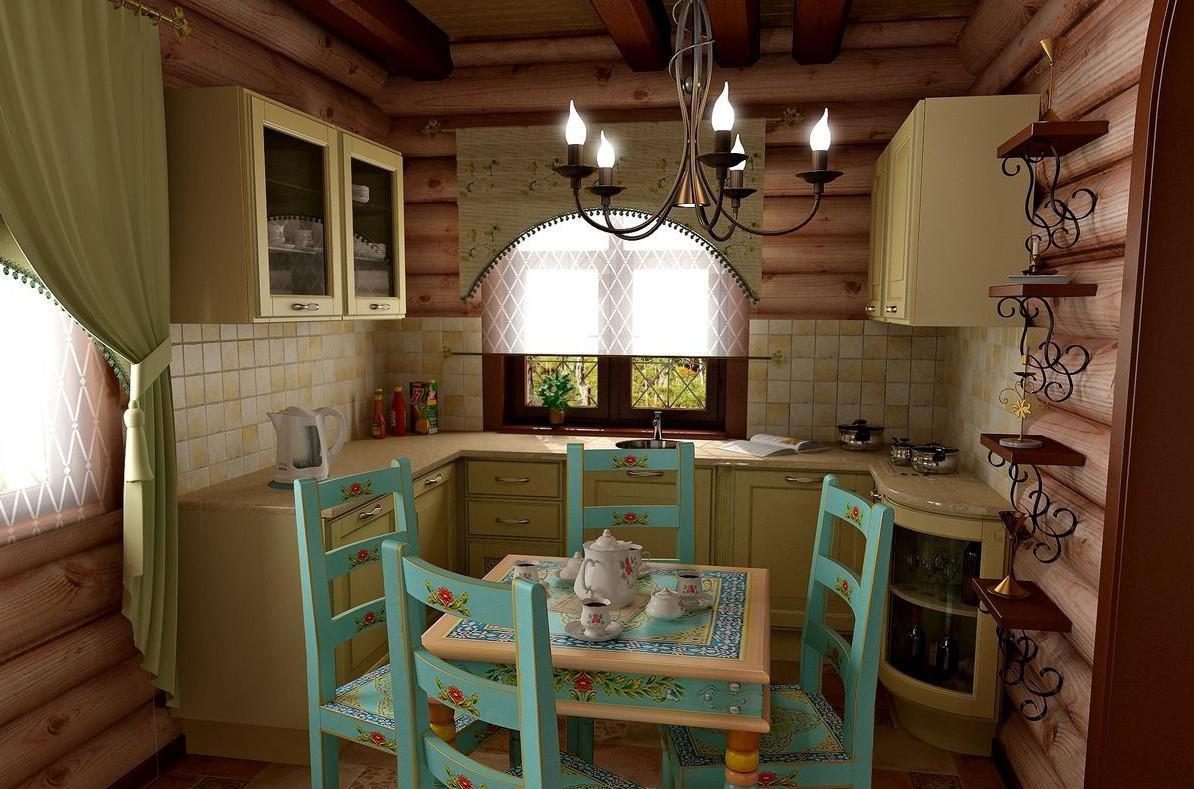 двенадцатиметровая кухня в стиле кантри