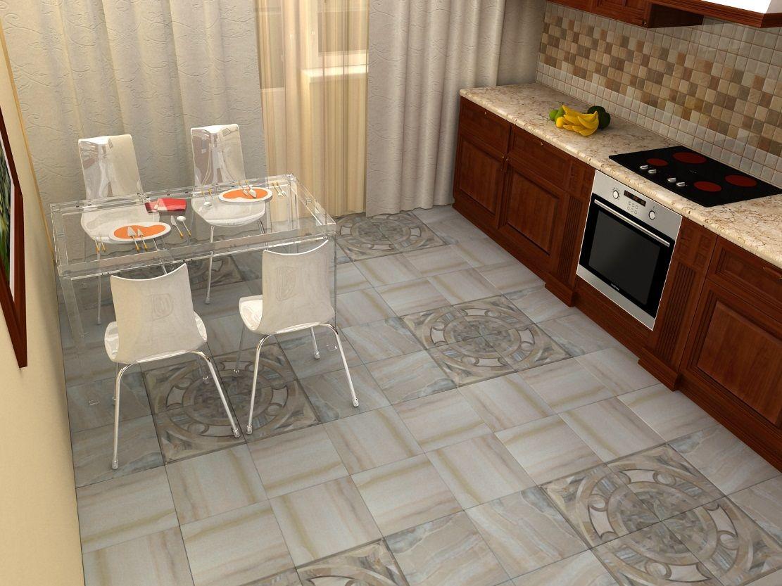 керамогранит на полу кухни 12 метров