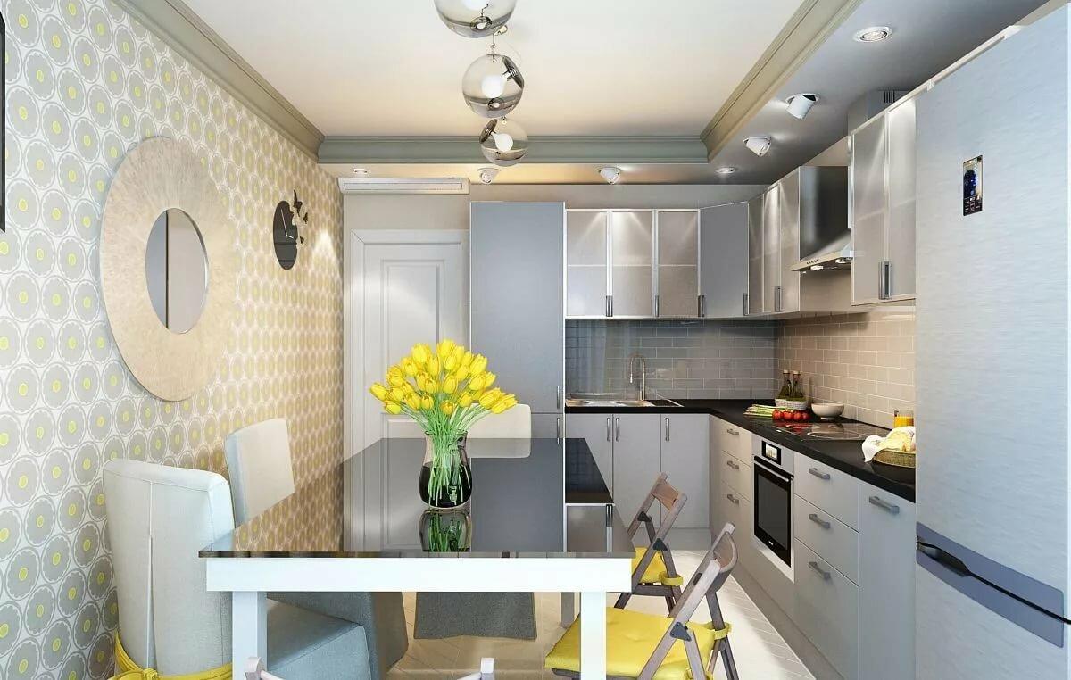 отделка стен кухни 12 метров обоями
