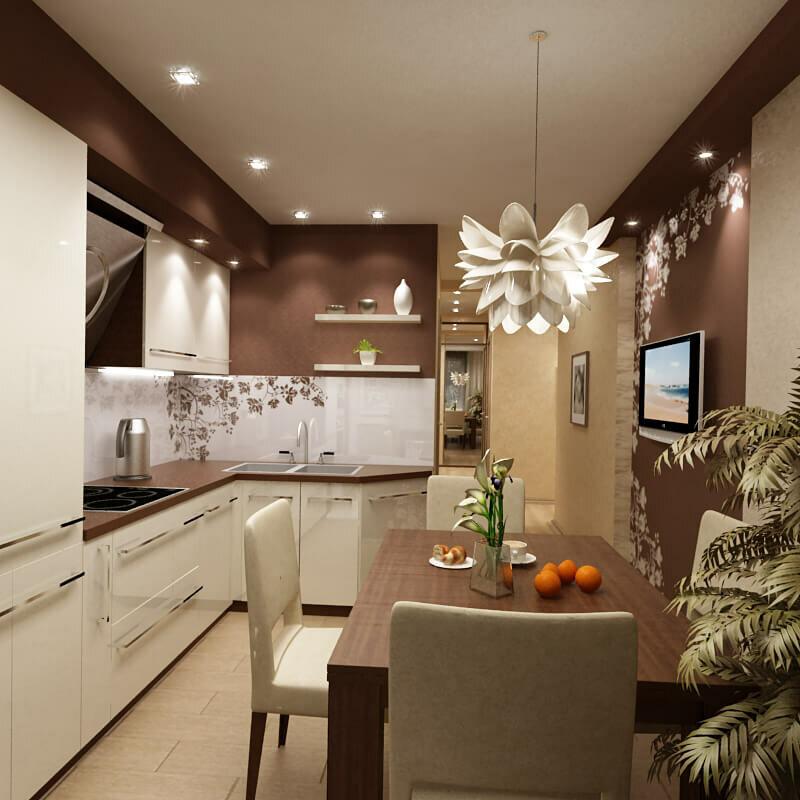 яркая люстра надо столом в 12-метровой кухне