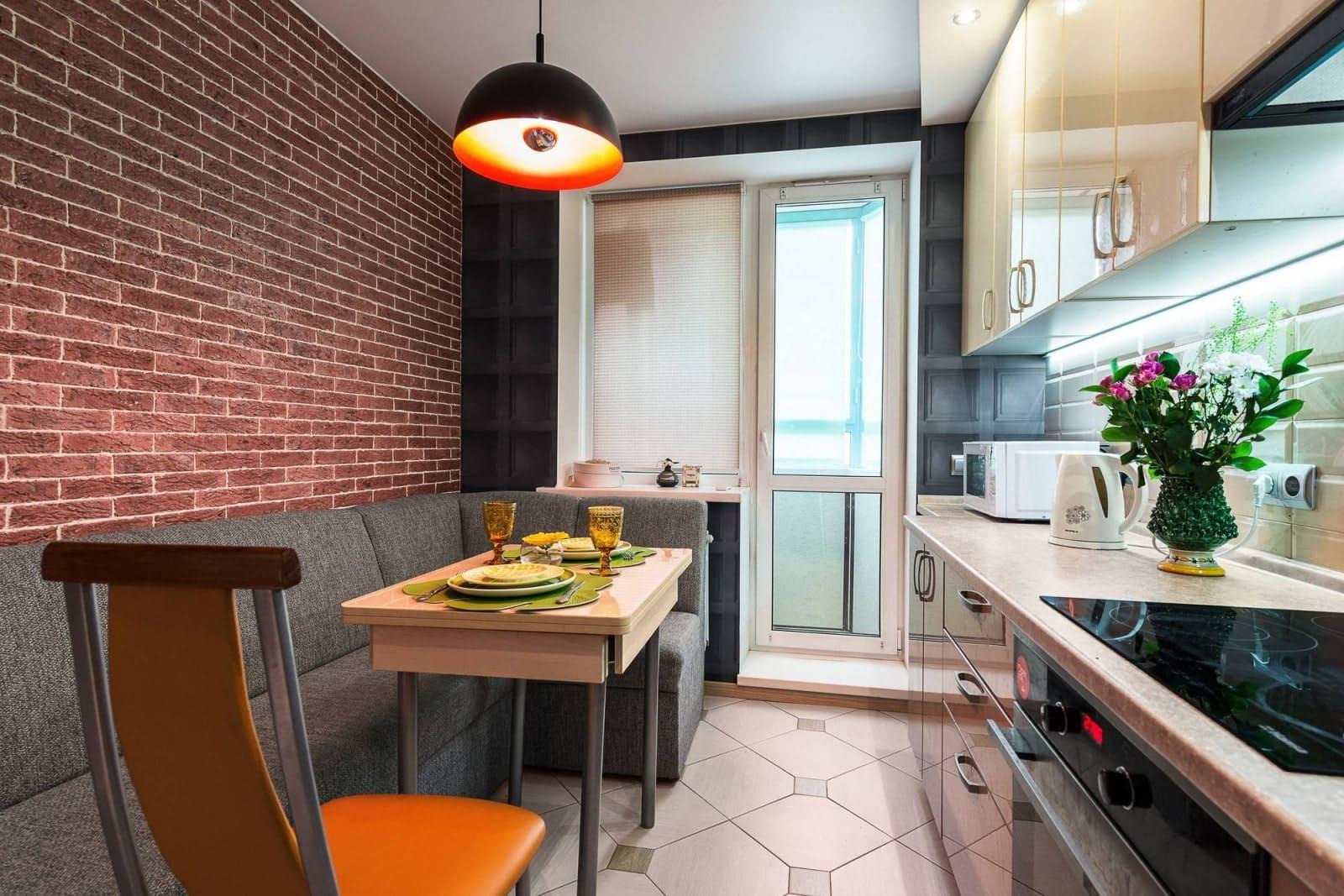узкая и вытянутая кухня 12 метров