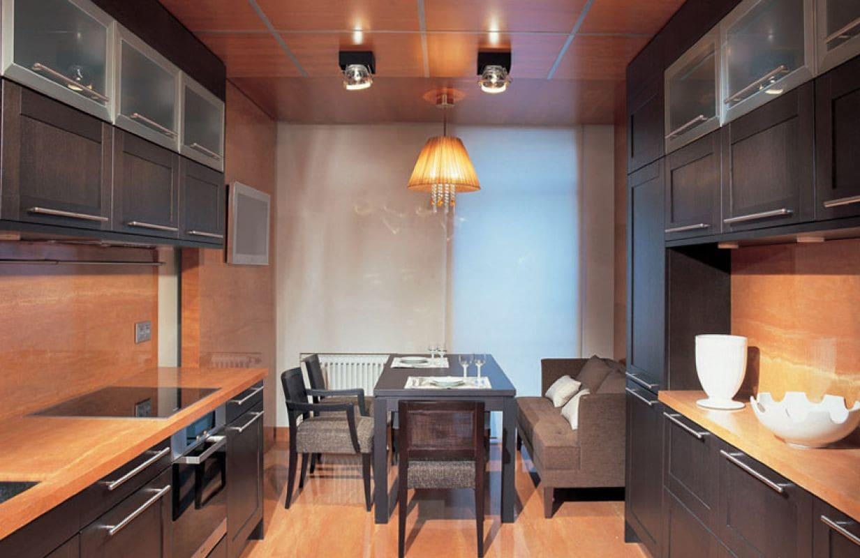 двухрядная планировка кухни 12 метров