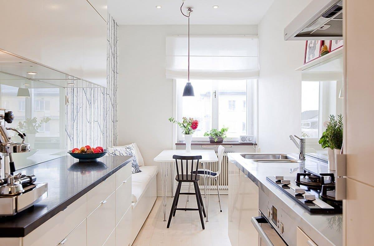 планировка 12-метровой кухни в два ряда